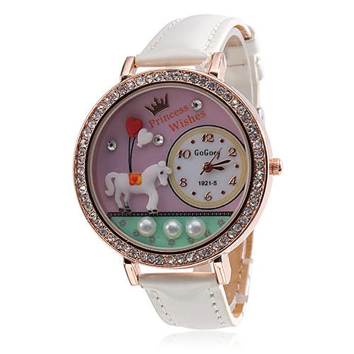 Аналоговые кварцевые женские модели лошади случая диаманта PU группы наручные часы (разных цветов)  300.000
