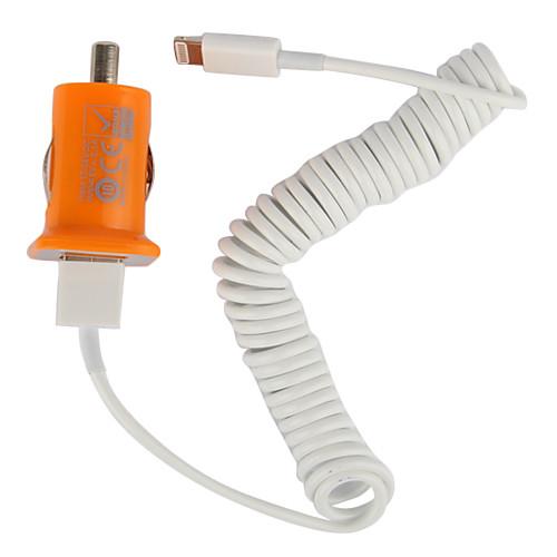 Dual USB порт автомобильное зарядное устройство с 100см яблочного 8 контактный спиральным кабелем для IPad мини, iphone 5, IPad 4 (DC12-24V, 3.1a)  300.000