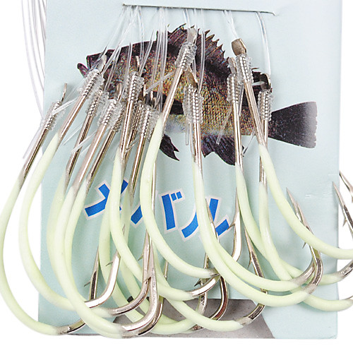 Серебристые крючок для рыбалки в открытом море 60 см-Line (30 шт / упаковка) 16 # -18 # HQ002 (желтый)