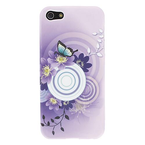 Фиолетовый цветочным узором Защитные Мягкий ТПУ чехол для iPhone 5