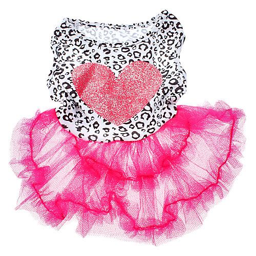 Собака Платья Одежда для собак С сердцем Розовый Терилен Костюм Для домашних животных Лето Жен. Мода petmax жилет коричневый с орнаментом s
