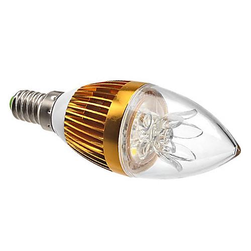 Dimmable E14 3W 270LM 6000-6500K Белый свет природных Золотая раковина светодиодные свечи лампы (220)