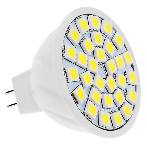 4W 420lm GU5.3(MR16) Точечное LED освещение MR16 30 Светодиодные бусины SMD 5050 Естественный белый 12V