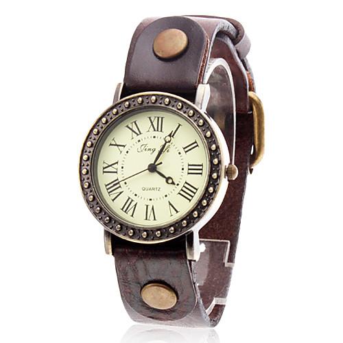 женская старинные случае кожаный ремешок кварцевые наручные часы (разные цвета)  386.000