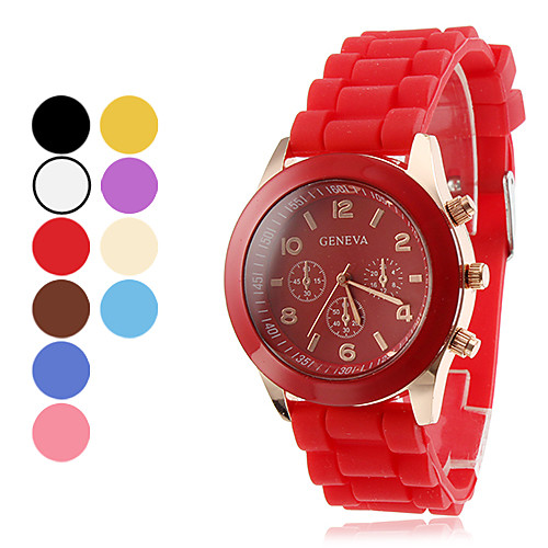 Жен. Модные часы Повседневные часы Кварцевый силиконовый Группа Конфеты Черный Белый Синий Красный Коричневый Розовый Фиолетовый Желтый от MiniInTheBox.com INT