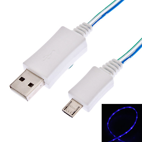 Micro USB к USB синхронизации данных и зарядный кабель с синей льющийся свет для Samsung I9300 Galaxy S3, S4 i9500 и другие