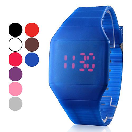 Мужской Наручные часы LED Сенсорный дисплей Календарь Цифровой силиконовый ГруппаЧерный Белый Синий Красный Коричневый Серый Розовый