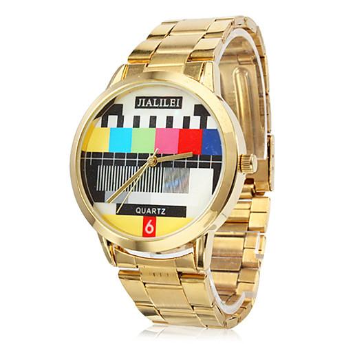 унисекс модели ТВ золото стали Кварцевые аналоговые наручные часы  386.000