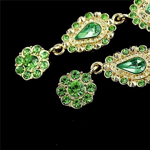 Серьги-капли с зеленым цирконием