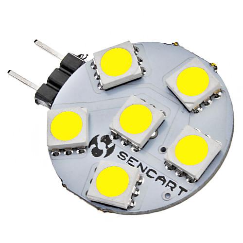 SENCART 1W 6500lm G4 Двухштырьковые LED лампы 6 Светодиодные бусины SMD 5050 Естественный белый 12V