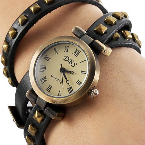 Женский аналоговые кварцевые наручные часы-браслет с ремешком из кожзама (зеленые)  300.000