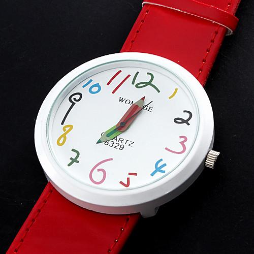 PU женщин Аналоговые кварцевые наручные часы (красный)  300.000