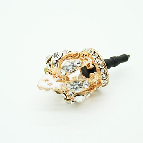 Заглушка для гнезда для наушников в форме золотой короны со стразами, защищает от пыли (цвет случайный)  171.000