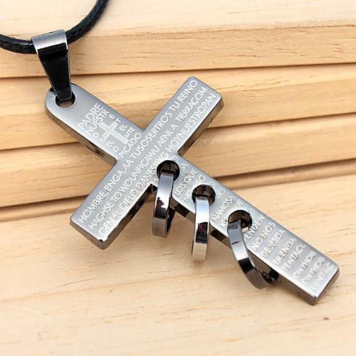 Сплав Креста круг подвеска кожа ожерелье  214.000