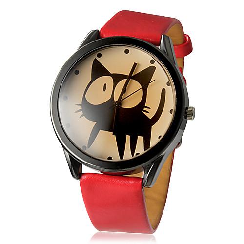 Жен. Модные часы Кварцевый Повседневные часы PU Группа Мультяшная тематика Черный Белый Красный