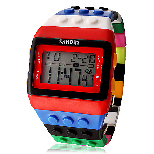 Жен. электронные часы Часы Дерево Модные часы Цифровой Будильник Календарь Секундомер ЖК экран Plastic Группа Конфеты Cool Разноцветный