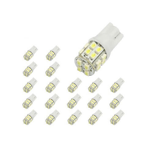 LORCOO 10pcs T10 Car Light Bulbs 2 W 40 lm 20 LED Interior Lights / 6000 / 8000