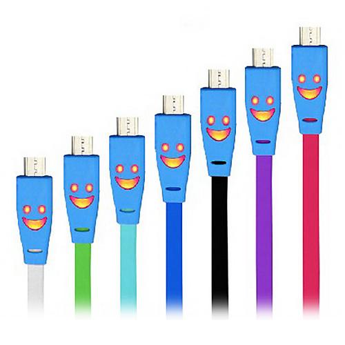 Высокое качество горячей Плоские светодиодные Улыбка лица Micro USB синхронизации данных Кабель зарядного устройства для Samsung HTC