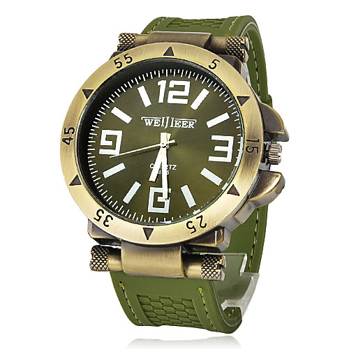 Муж. Армейские часы Наручные часы Кварцевый силиконовый Группа Черный Зеленый