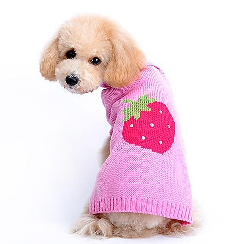 Собака Свитера Одежда для собак Фрукты Розовый Сукно Костюм Назначение Весна & осень Зима Муж. Жен.
