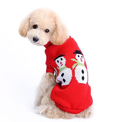 Собака Свитера Одежда для собак Однотонный Сукно Костюм Назначение Зима Муж. Жен. Сохраняет тепло Рождество