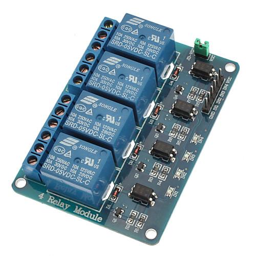 4-канальный релейный модуль с оптопарой 5V для pic avr dsp arm для arduino <br>