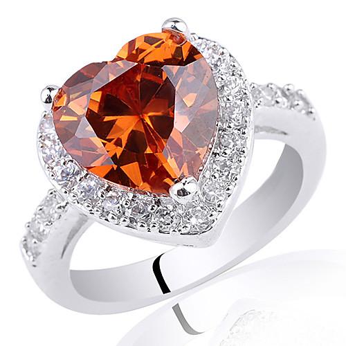 Chic Женское Серебряное кольцо, размер  10мм, в форме сердца, цирконий