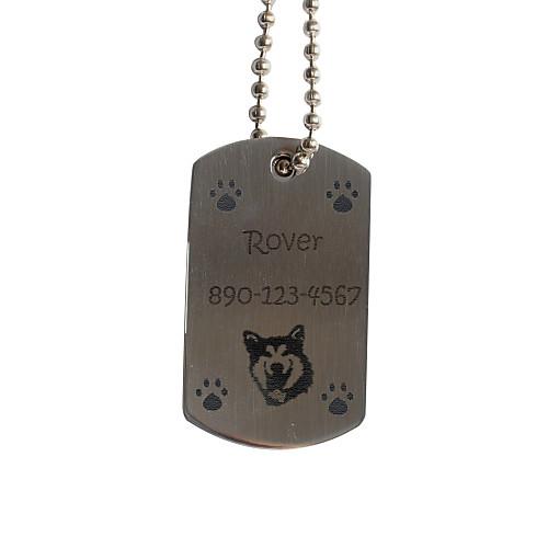 FootPrint Pattern персональный подарок собаки Pet Id Name Tag с цепочкой для собак