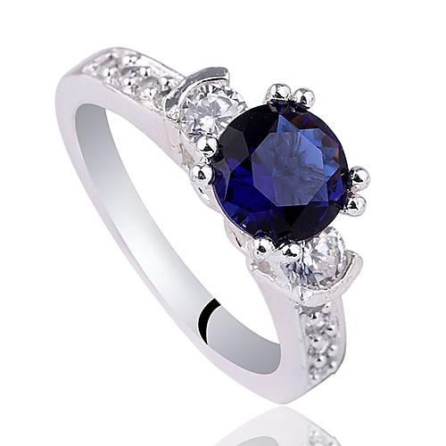 Женщины стерлингового серебра Платье кольцо с 7 мм круглого цирконий и малых Сиде Камень