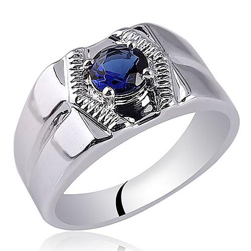 Одиночные Камень Мужская родий Отделка Серебряное кольцо с кубического циркония