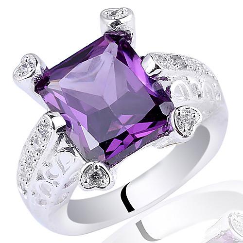 Женщины 0,925 Серебряное кольцо с 10мм х 12 мм Прямоугольник Цирконий