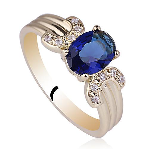 Позолоченные 925 Серебряное кольцо для женщин с 6X8mm овальную форму кубического циркония