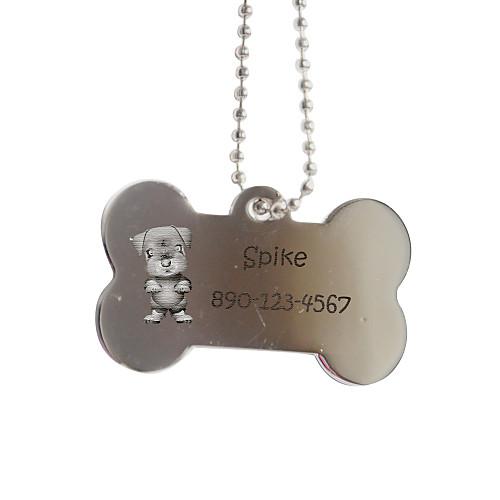 Персональный подарок Кость Форма Серебряный Pet Id Name Tag с цепочкой для собак cai серебряный кулон с цепочкой с цирконами c1224n 90 03zir