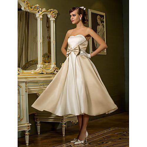 miniinthebox / Linha A Decote Princesa Longuette Cetim Vestidos de casamento feitos à medida com Laço de LAN TING BRIDE / Vestidos Brancos Justos / Vestidos Brancos Justos