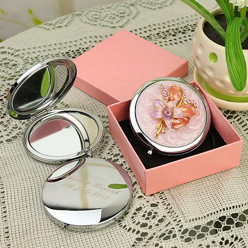 Персональный подарок Цветочные Стиль Розовый Chrome компактное зеркало