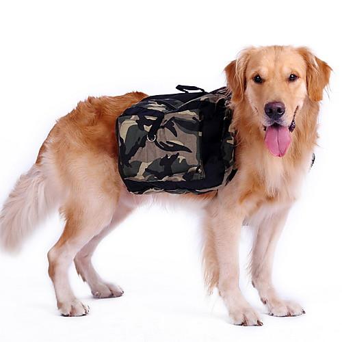 Собака рюкзак Одежда для собак камуфляж Зеленый Нейлон Костюм Для домашних животных Муж. Жен. Спорт собаки жилет одежда для собак камуфляж классика зеленый синий хлопок полиэфир костюм для домашних животных спорт и отдых камуфляж