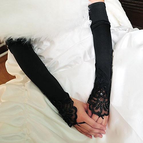Хлопок Эластичный сатин До запястья До плеча Перчатка Кулоны Стиль Свадебные перчатки Вечерние перчатки With Вышивка Однотонные