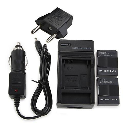 Набор для  GoPro 3, батарейка 1600mAh, зарядное устройство, зарядное устройство для авто, европейский адаптер