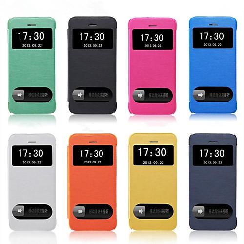 Кейс для Назначение iPhone 5 Apple Кейс для iPhone 5 с окошком Флип Чехол Сплошной цвет Твердый Кожа PU для iPhone SE/5s iPhone 5 чехол для iphone 5 глянцевый с полной запечаткой printio хлоя морец