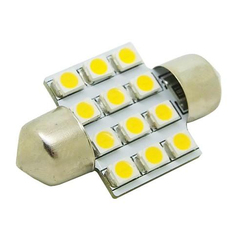 31mm 1W 12x3528 SMD 50lm 2800 ~ 3200K теплый белый свет Светодиодные лампы для автомобилей купола фестона лампа для чтения (DC 12V)