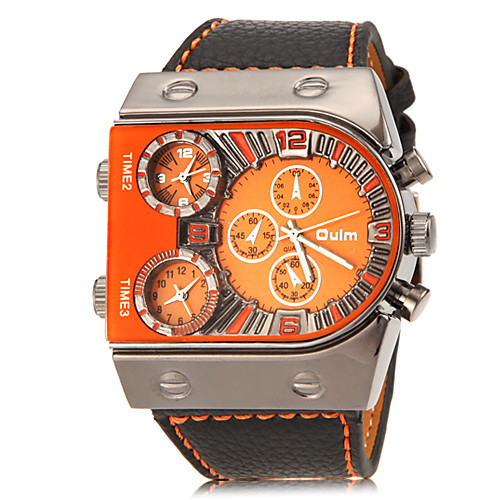Oulm Men's Military Watch Wrist Watch Quartz Quilted PU Leather Black Three Time Zones Analog Charm fancy - White Orange Yellow Two Years Battery Life / SOXEY SR626SW
