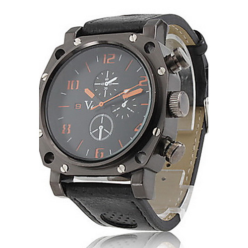 Мужской Наручные часы Японский кварц PU Группа Черный бренд- V6