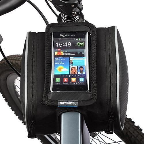 ROSWHEEL Сотовый телефон сумка / Бардачок на раму 5.5 дюймовый Сенсорный экран Велоспорт для Samsung Galaxy S4 / iPhone 5/5S / iPhone 8/7/6S/6 Черный