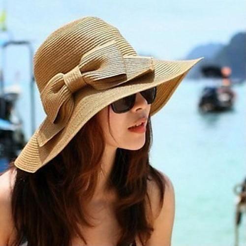 Жен. Винтаж шляпа-Классический Сплошной цвет / Соломенная шляпа / Лето / Шляпа / шапка / Шляпа от солнца фото