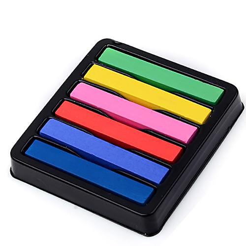 Не токсичен Временный салон Комплект Горячая DIY Красочные волос Мел 6 цветов краски, пастель SV000202