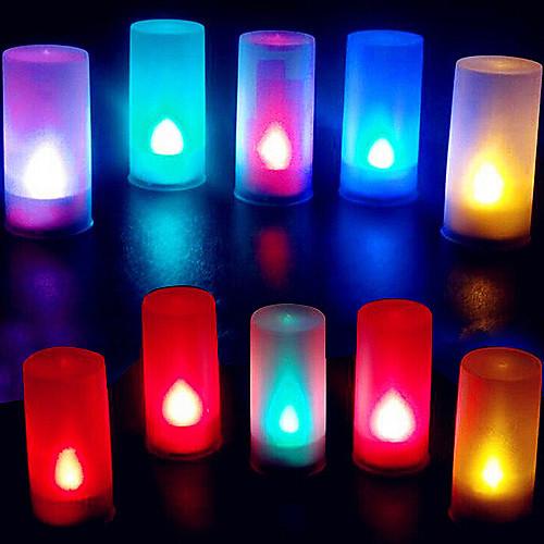 красочные пламени абс форма свечи свет водить ночи для фестиваля Рождество Хэллоуин