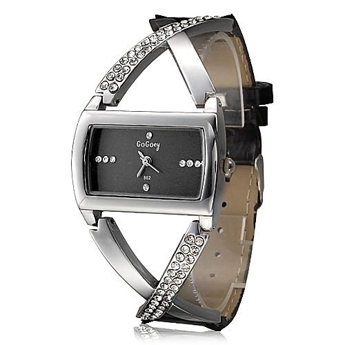 Женские Модные часы Кварцевый Имитация Алмазный Стразы PU Группа Блестящие Элегантные часы Черный <br>