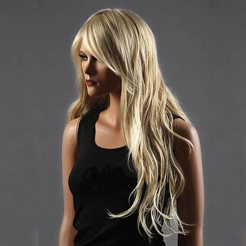 Парики из искусственных волос Кудрявый Блондинка Стрижка каскад Искусственные волосы Водопад Блондинка Парик Жен. Длинные Полностью ленточные