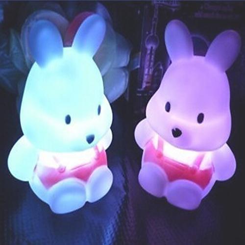 Coway Репа Кролик Красочные LED Night Light милый маленький кролик Свадебные принадлежности