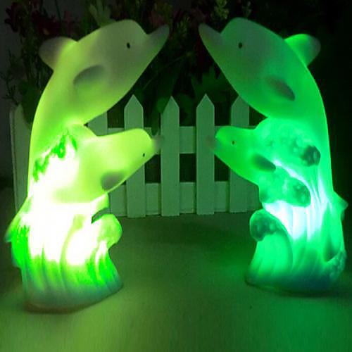 Coway Двухместный Дельфин Красочные светодиодной Night Light